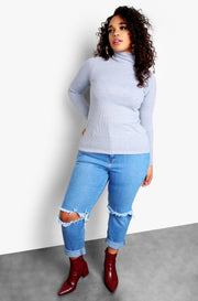 Gray Plus Size Ribbed Turtleneck Long Sleeve Top