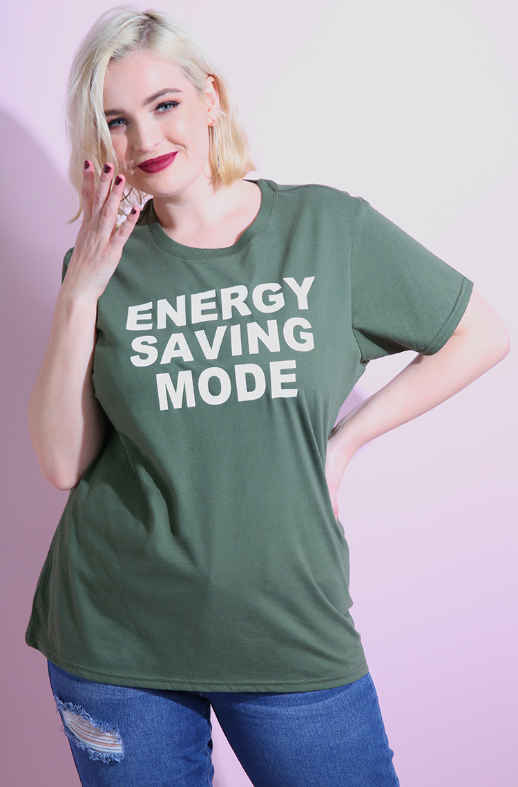 "Rebdolls ""Energy Saving Mode"" Crew Neck Short Sleeve T-Shirt"