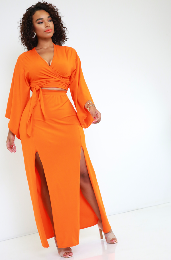 Orange High Slit Maxi Skirt Plus Sizes