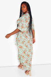 Green Kimono Style Skater Maxi Dress Plus Sizes