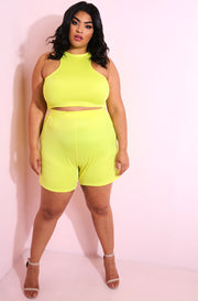 Neon Yellow Pleated Shorts plus sizes