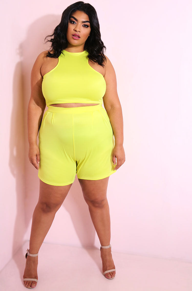 Neon Yellow X Crop Top plus sizes