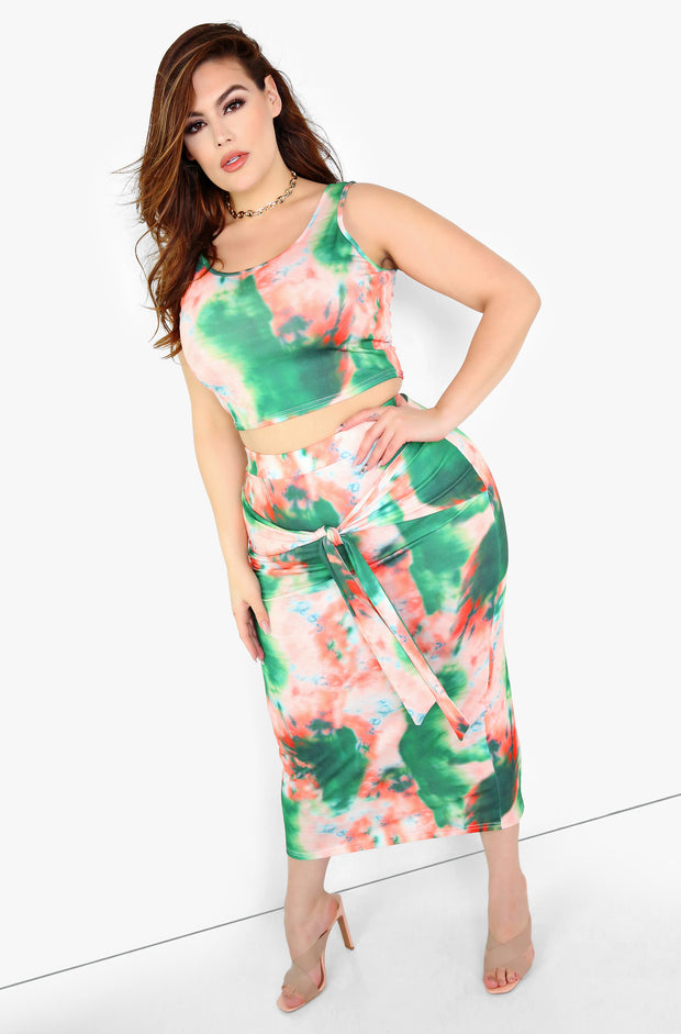 Green Tie Dye Maxi Skirt w. Waist Tie Plus Sizes
