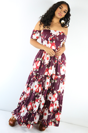 Burgundy Over The Shoulder Maxi Dress Plus Sizes