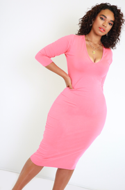 Coral Essential 3/4 Sleeve V-Neck Bodycon Midi Dress Plus Sizes