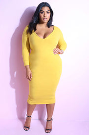 Mustard Essential 3/4 Sleeve V-Neck Bodycon Midi Dress Plus Sizes