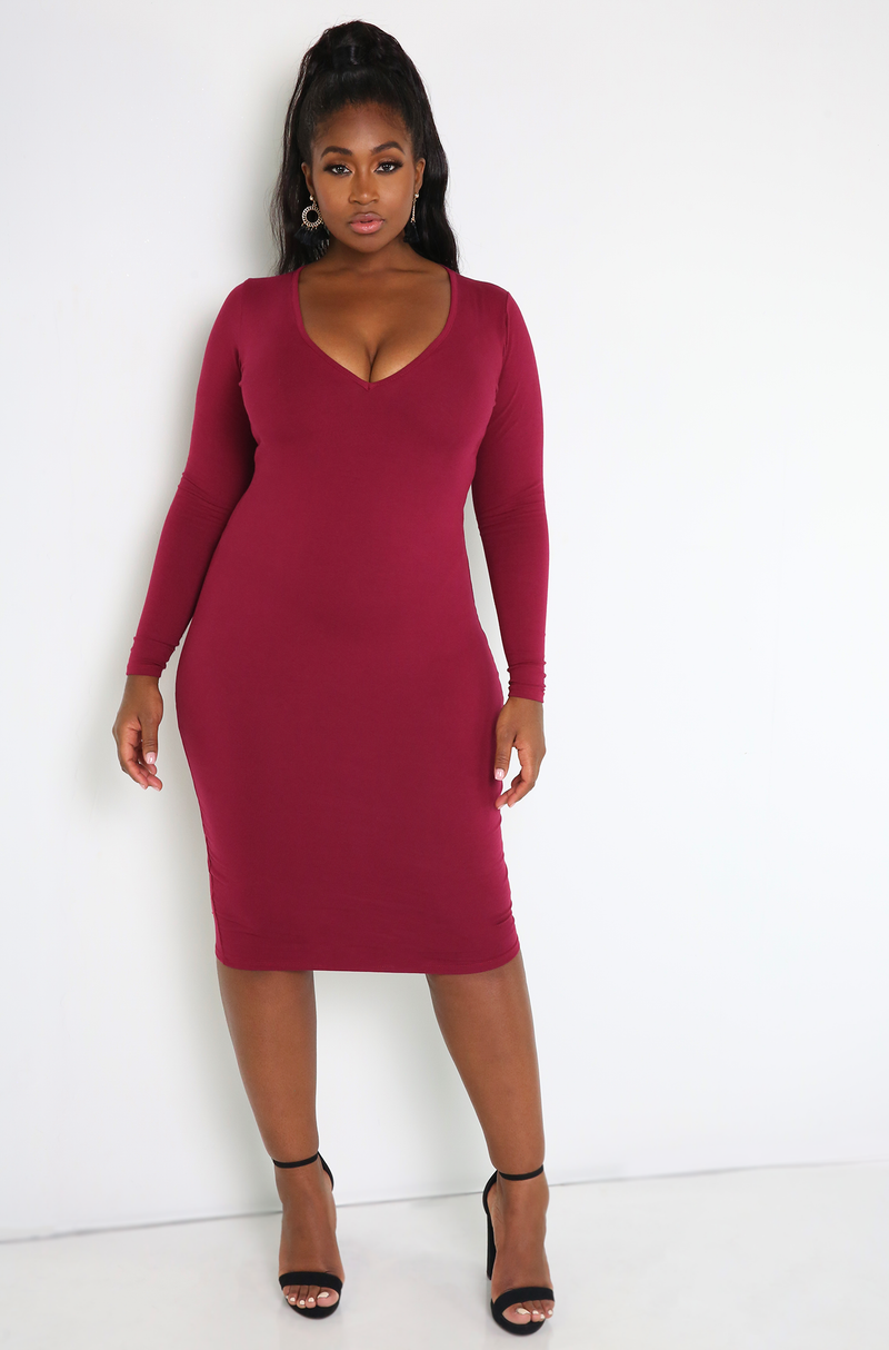 Rebdolls Essential Long Sleeve V-Neck Bodycon Midi Dress