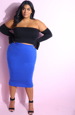 Royal Blue Essential Cotton Bodycon Midi Skirt Plus Sizes