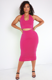 Fuchsia Essential Halter Crop Top Plus Sizes