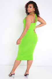 Lime Green Essential Halter Crop Top Plus Sizes