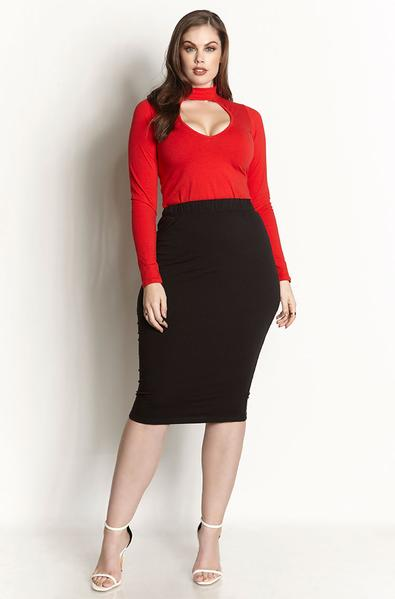 Black Essential Cotton Bodycon Midi Skirt Plus Sizes