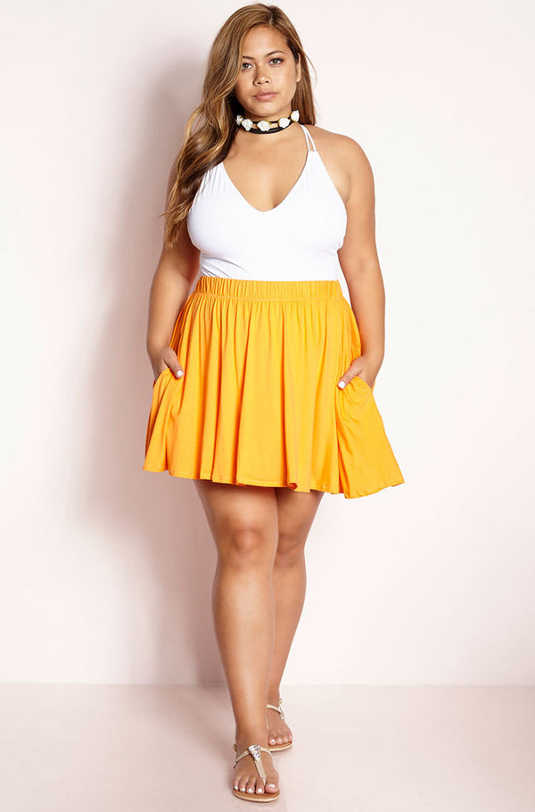 Orange Essential Mini Skater Skirt Plus Sizes