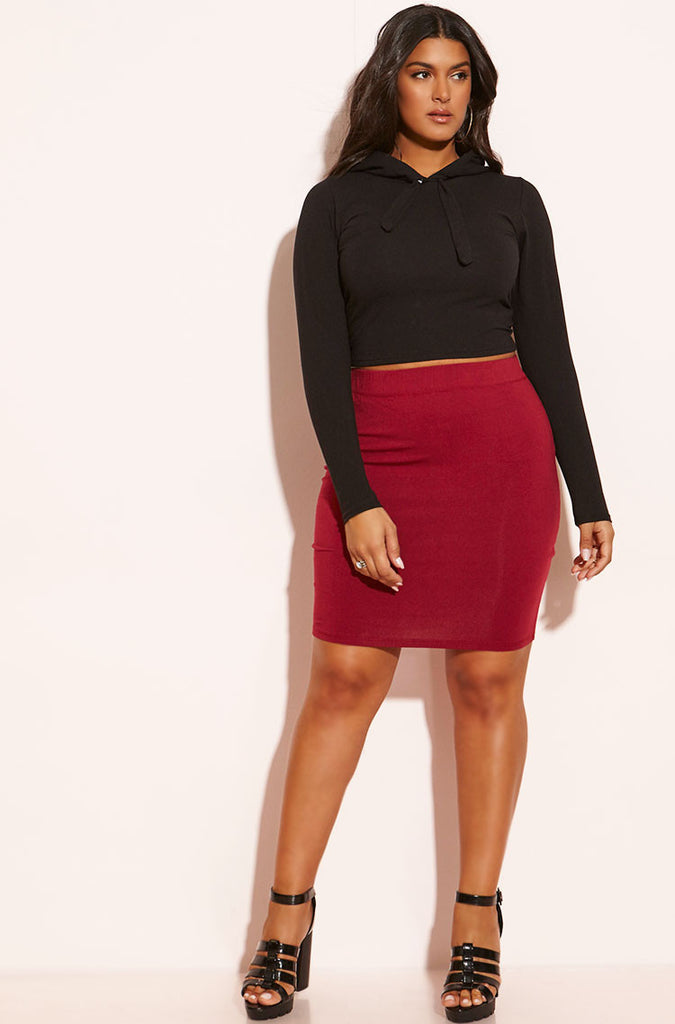 Rebdolls Essential Cotton Mini Skirt - Burgundy