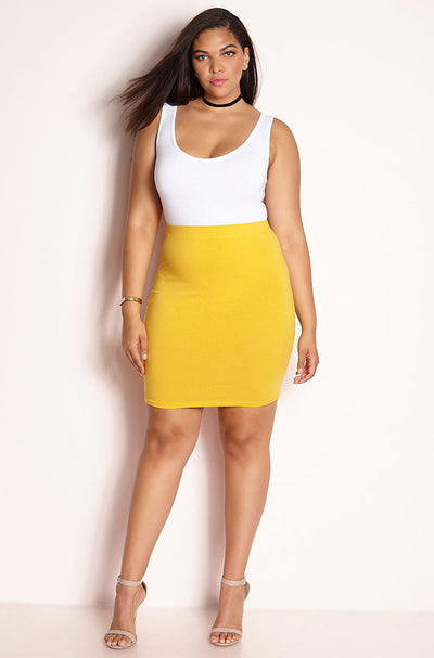 Mustard Essential Cotton Bodycon Mini Skirt Plus Sizes