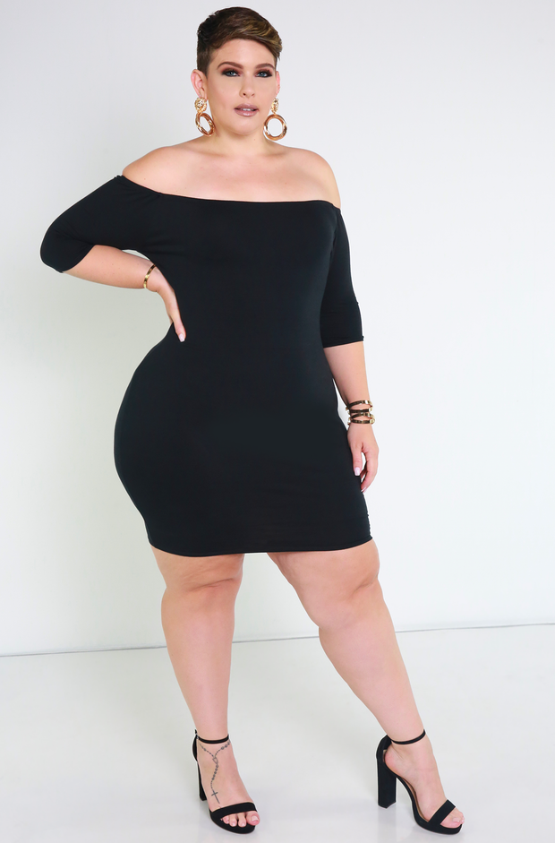 Black Essential Over The Shoulder Mini Dress Plus Sizes