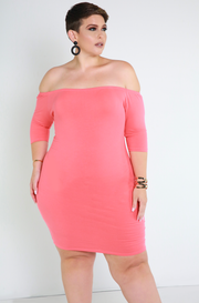 Coral Essential Over The Shoulder Mini Dress Plus Sizes