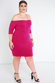 Fuchsia Essential Over The Shoulder Mini Dress Plus Sizes