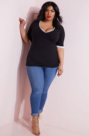 Black Ringer V-Neck Top plus sizes