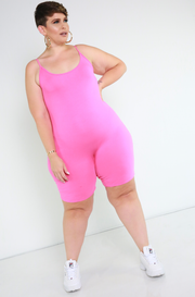 Pink Essential Strappy Bermuda Jumpsuit Plus Sizes