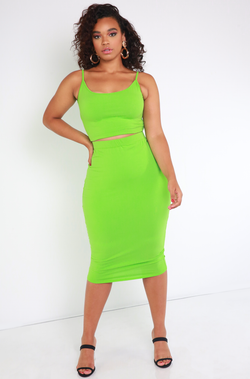 Lime Green Essential Spaghetti Strap Crop Top Plus Sizes