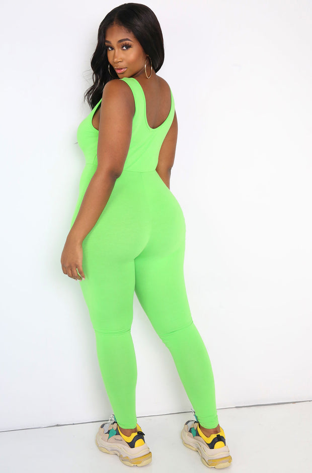Lime Green Essential Tank Jumpsuit Plus Size