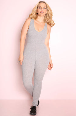 Gray Essential Tank Jumpsuit plus sizes