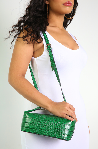 Green Mock Crock Cross Body Bag