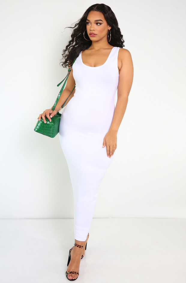 White Essential Tank Bodycon Maxi Dress Plus Sizes