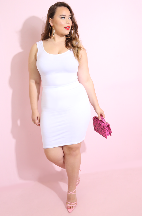 White Essential Bodycon Mini Skirt Plus Sizes
