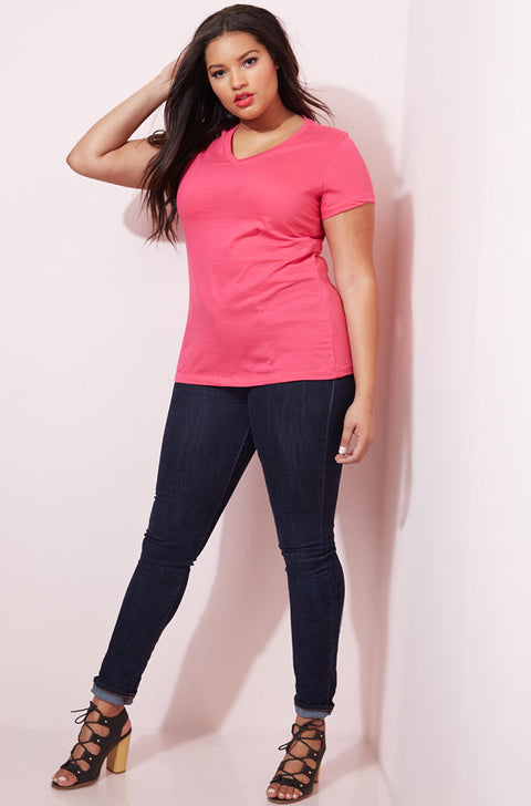 Pink Essential V-Neck T-Shirt plus sizes