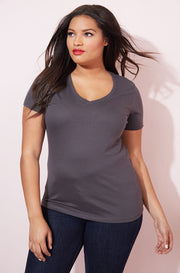 Heathered Gray Essential V-Neck T-Shirt plus sizes