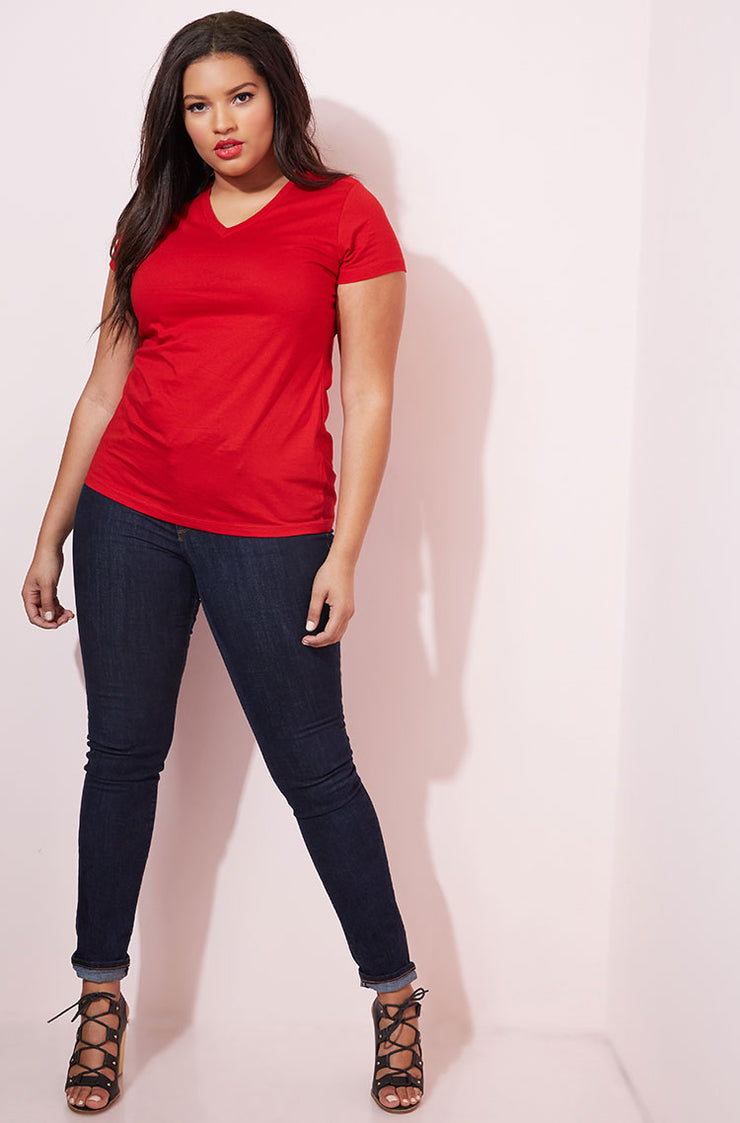 Red Essential V-Neck T-Shirt plus sizes
