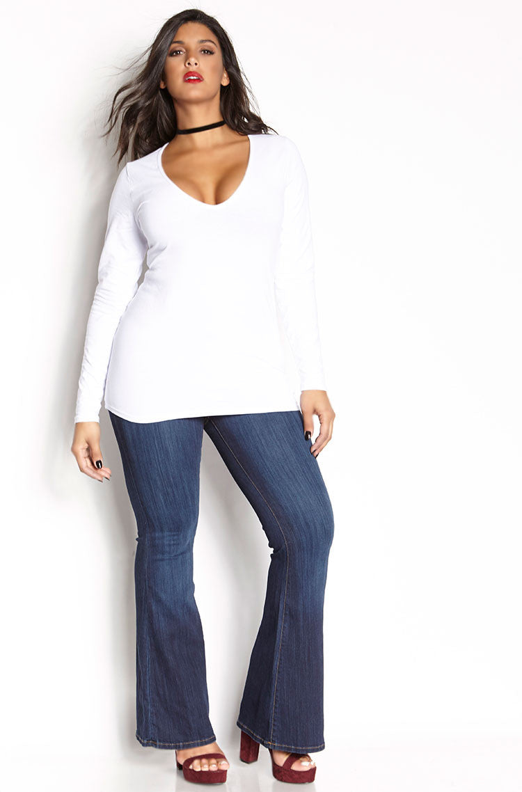 White V-Neck Full Length Top plus sizes