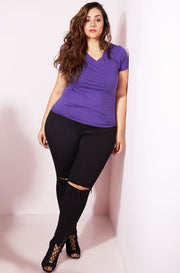 Purple Essential V-Neck T-Shirt plus sizes