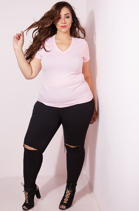 Light Pink Essential V-Neck T-Shirt plus sizes