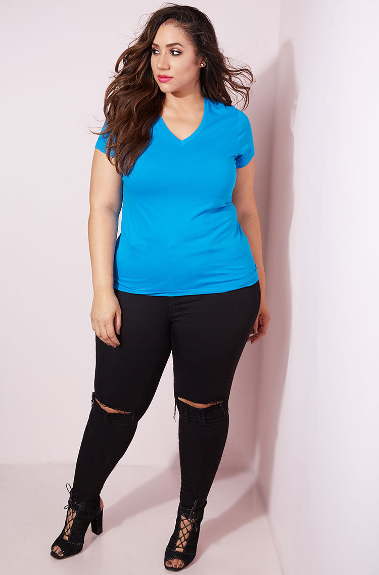 Turquoise Essential V-Neck T-Shirt plus sizes