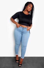 Black Essential Crewneck Crop Top Plus Sizes