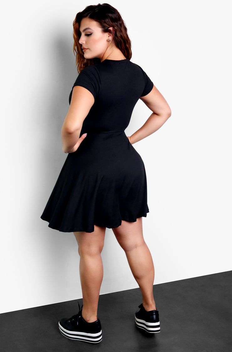 Black Essential Crewneck Skater Mini Dress Plus Size