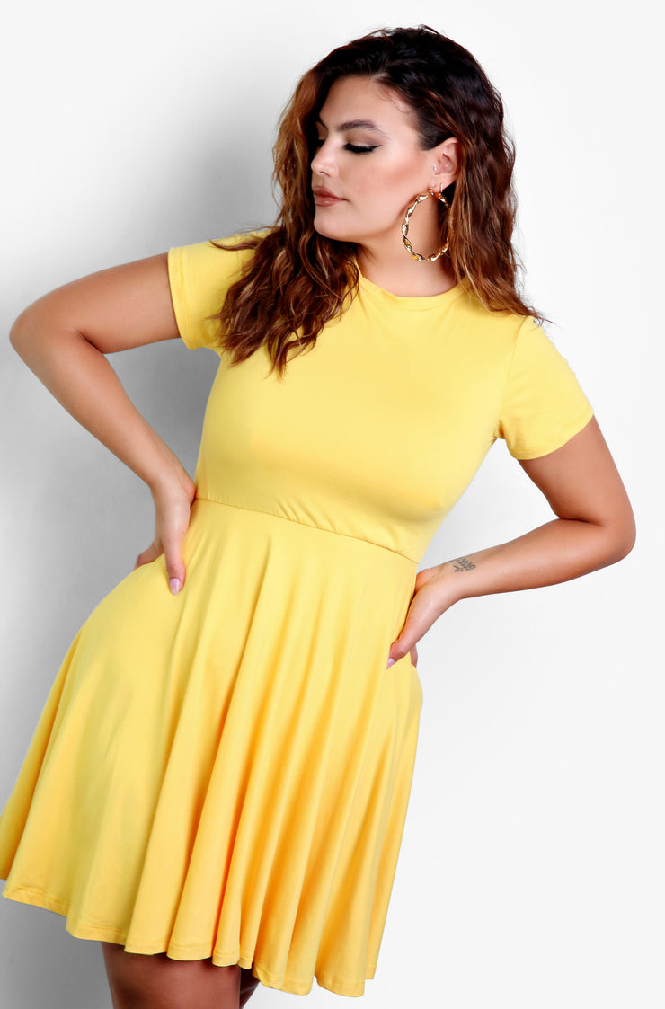 Mustard Essential Crewneck Skater Mini Dress Plus Size