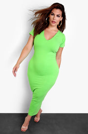 Rebdolls Essential V-Neck Bodycon Maxi Dress