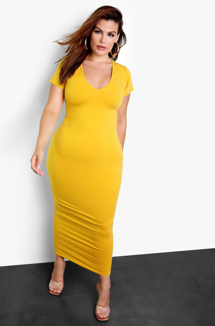 Mustard Essential V-Neck Bodycon Maxi Dress Plus Size