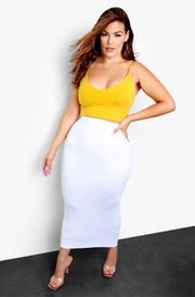 White Essential Bodycon Maxi Skirt Plus Size