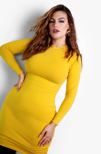 Mustard Essential Crewneck Long Sleeve Mini Dress Plus Sizes