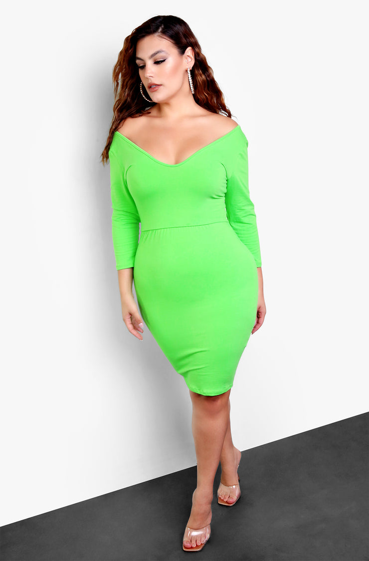 Lime Green Essential 3/4 Sleeve Bodycon Mini Dress Plus Size