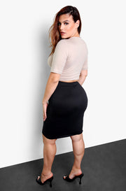 Nude Essential Bodycon Midi Skirt Plus Sizes