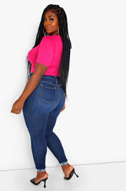 Fuchsia Essential Crewneck Crop Top Plus Sizes