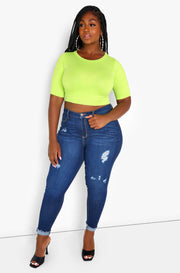 Lime Green Essential Crewneck Crop Top Plus Sizes