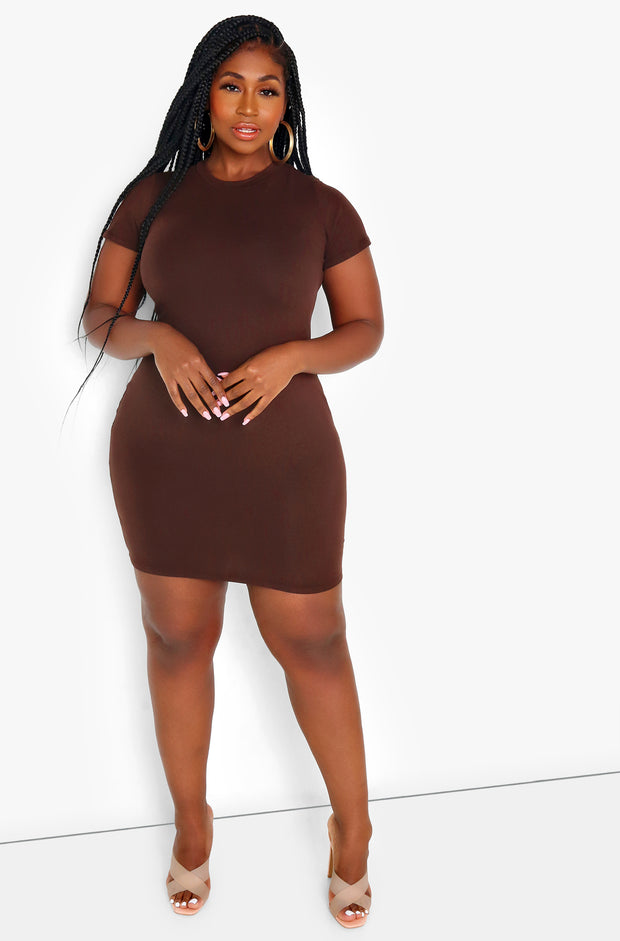 Brown Essential Short Sleeve Crew Neck Bodycon Mini Dress Plus Sizes