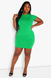 Rebdolls Essential Short Sleeve Crew Neck Bodycon Mini Dress