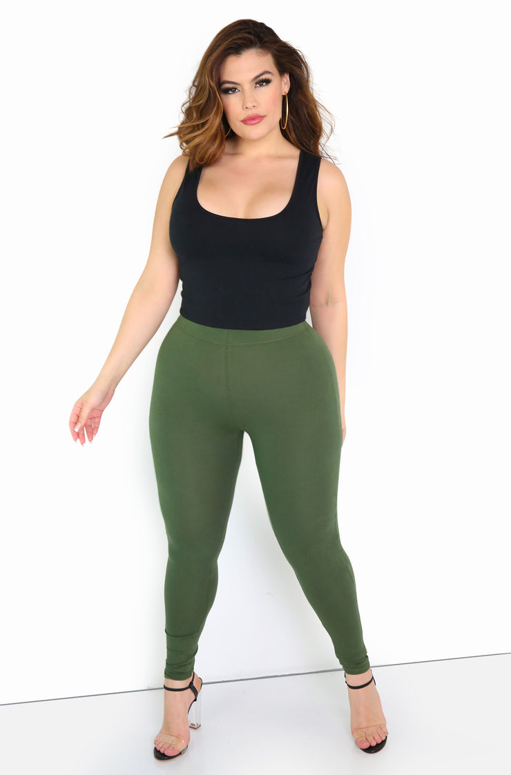 Olive Essential Leggings Plus Size